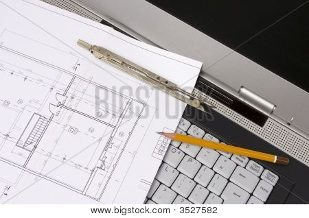 Blueprints And Laptop