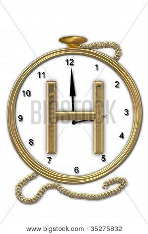 Alphabet Pocket Watch H