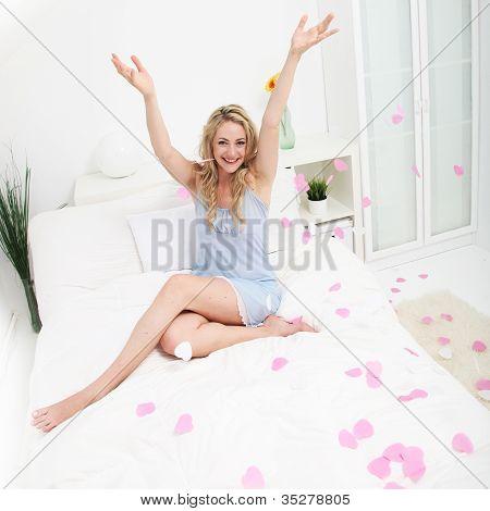 Joyful Woman Scattering Valentine Hearts