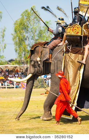 Battle Reenactment Siamese Burmese Elephant King