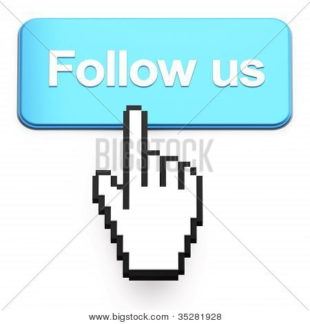 Hand-shaped Mouse Cursor Press Follow Us Button