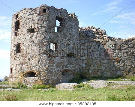 round tower of castle ruins