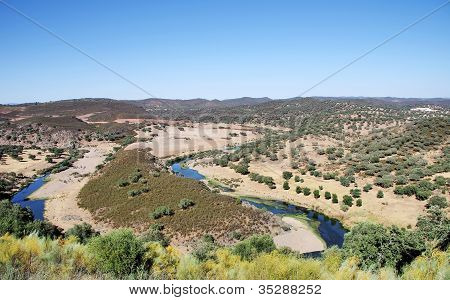 Landscape Of Valley And River Near Barrancos.