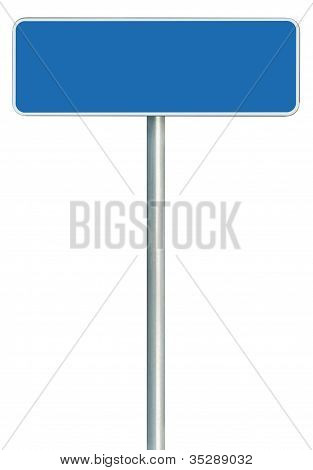 Blank Blue Road Sign Isolated, Large White Frame Framed Roadside Signboard Copy Space