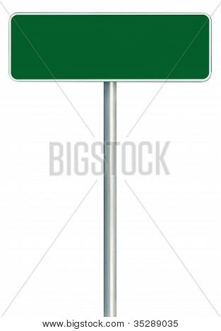 Blank Green Road Sign Isolated, Large White Frame Framed Roadside Signboard Copy Space