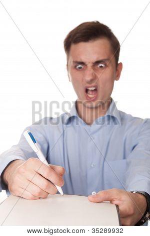 Shocked man isolated on white