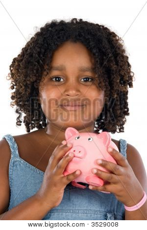 Adorable African Girl With Pink Piggy Bank