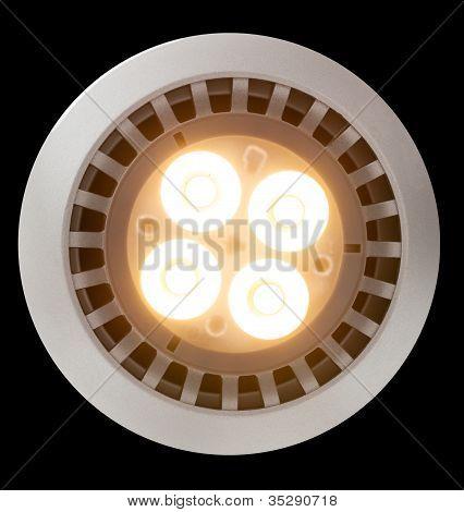 Bombilla de luz LED iluminado desde arriba