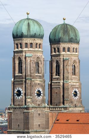 Towers Of Frauenkirche Cathedral Church In Munich