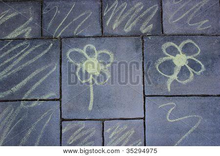 Flowers - Pavement Chalk Drawing - Regular