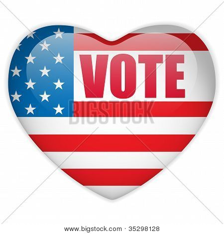 United States Election Vote Heart Button.