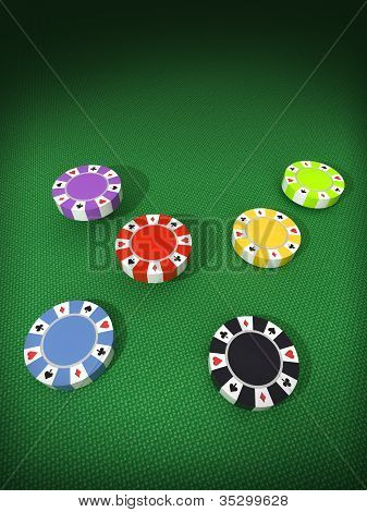 Six Separate Columns Of Colorful Poker Chips On Table