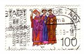 Germany - Circa 1989: A Stamp Printed In The Germany Shows Saints Kilian, Colman And Totnan, Martyre