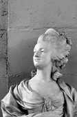 stock photo of guillotine  - The marble bust of French queen Marie - JPG