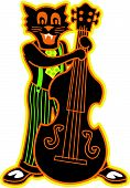 stock photo of rockabilly  - Rockabilly Cat Playing Stand Up Bass in Cartoon Retro or Vintage 1940s or 1950s Style - JPG