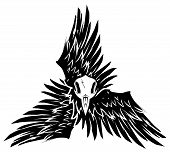stock photo of triskelion  - Goth black and white symbol of bird wings and skull - JPG