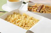 picture of lo mein  - Beef lo mein and fried rice in take out containers with green tea - JPG