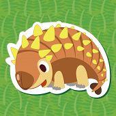 image of ankylosaurus  - a cute happy dinosaur - JPG
