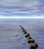 stock photo of stepping stones  - Row of Stepping Stones to Ocean Sea Horizon - JPG