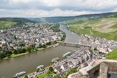 stock photo of moselle  - Aerial view of BernKastel - JPG