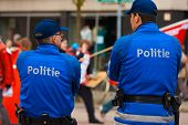 European Police Blue Uniform Backs Two