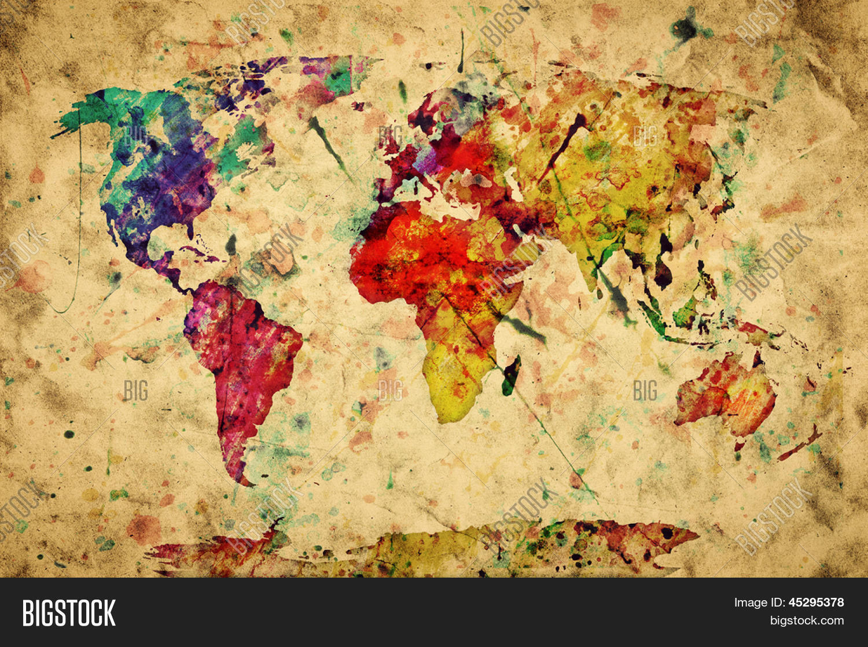 Vintage Weltkarte. Bunte Farben, Wasserfarben, retro-Stil Ausdruck ...: www.bigstock.at/image-45295378/stock-foto-vintage-weltkarte-bunte...