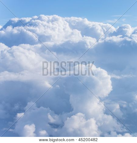 Beautiful blue cloudy sky, abstract natural background, cloudscape, sunlight in cumulonimbus cloud, environment concept