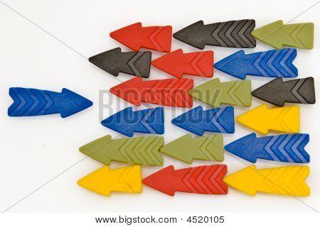 Colorful Arrows Against A Blue