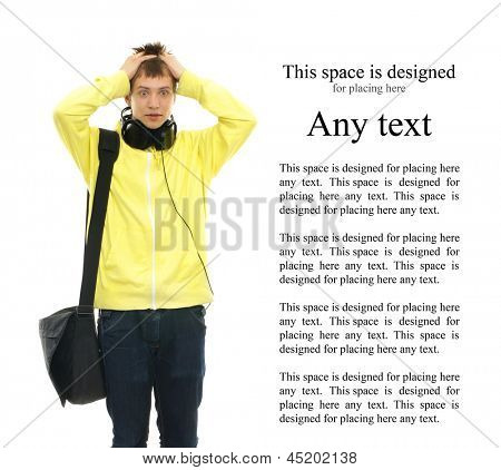 Young smart teenage boy isolated on white with some blank space