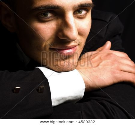 Smile Of Elegant Handsome Man With Sensual Eyes