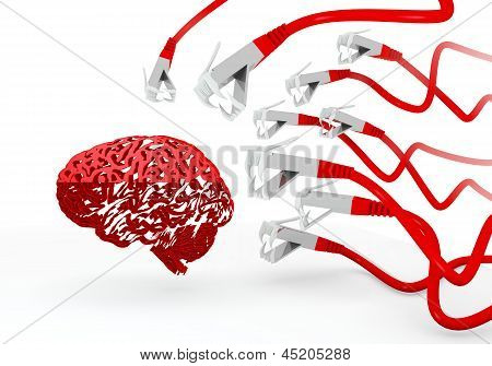 3d render of a isolated brain icon attacked by a cyber network