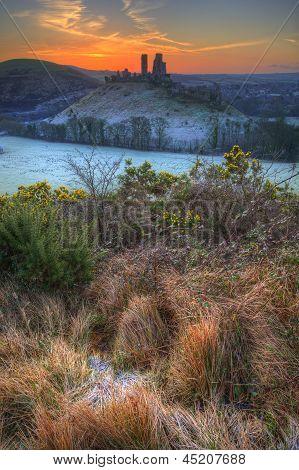 Corfe Castle Winter Sunrise Pre-dawn Colourburst
