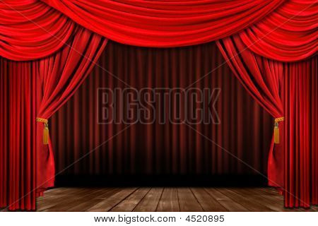 Dramatic Red Old Fashioned Elegant Theater Stage
