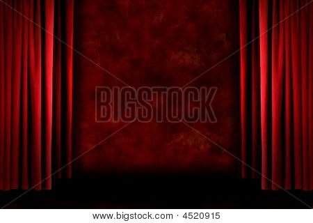 Red Old Fashioned Grungy Stage Drapes