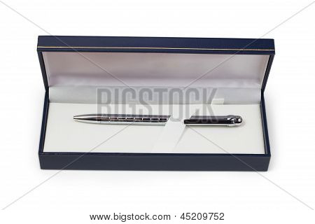 silver ballpoint pen gift box isolated white background