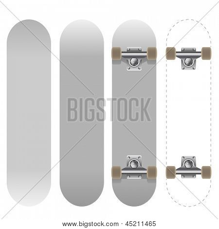 Blank white skateboard template vector illustration isolated on white background.