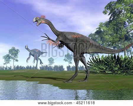 Gigantoraptor Dinosaurs In Nature - 3D Render