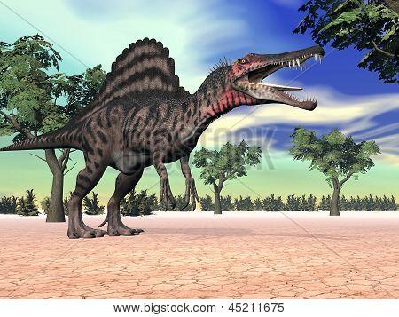 Spinosaurus Dinosaur In The Desert - 3D Render