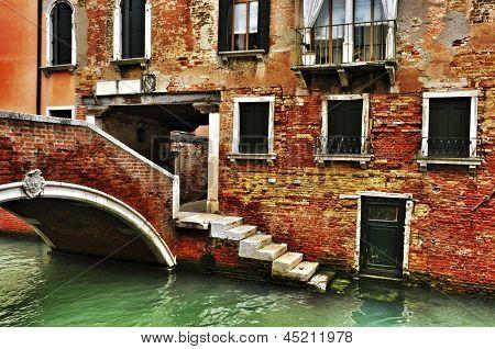 view of Ponte de la Corte Nova in Venice, Italy