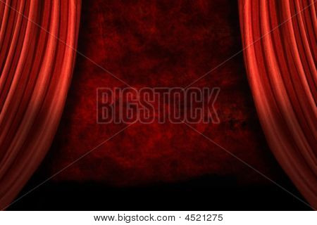 Stage Drapes With Grunge Background