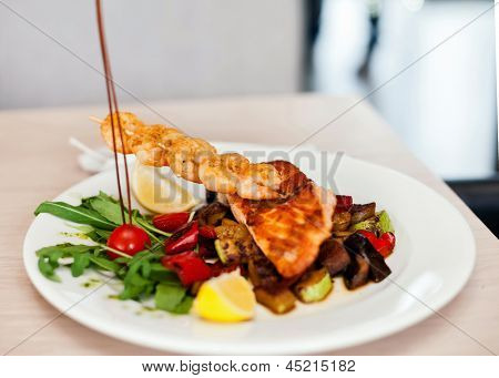 roasted pike perch fillet with seafood