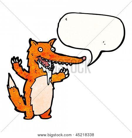 cartoon drooling fox