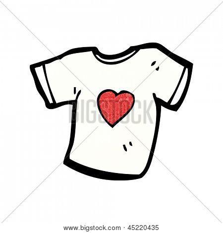 love heart tee shirt cartoon
