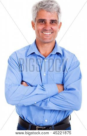 portrait of mature man arms crossed over white background