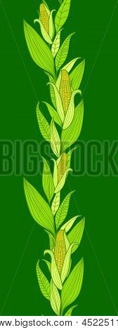 Corn plants vertical seamless pattern background border