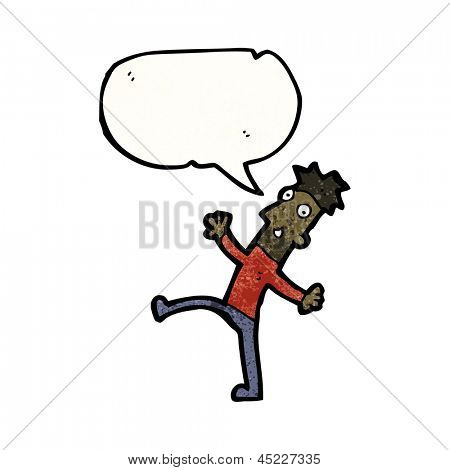 enthusiastic man with speech bubble cartoon