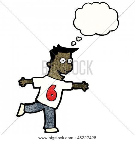 cartoon man in number shirt