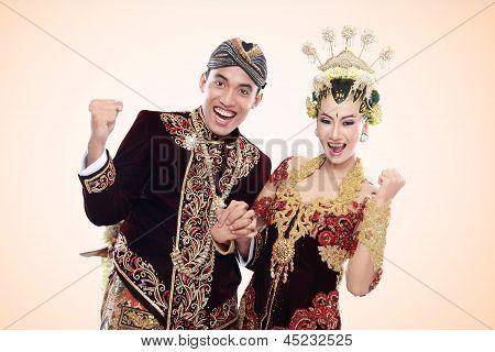 Happy Traditional Java Wedding Couple