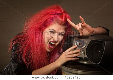 Excited Teen With Radio