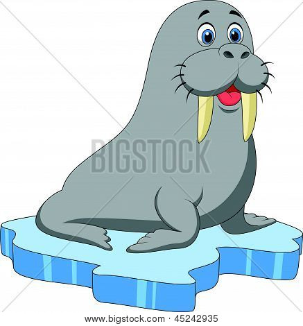 Cute walrus cartoon on ice